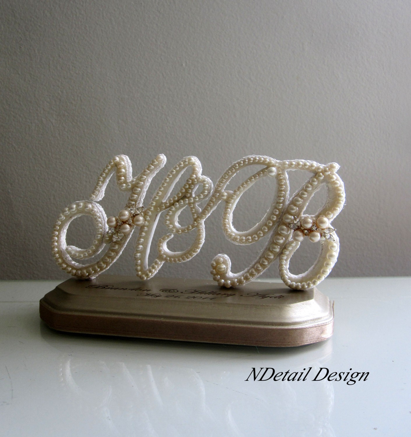 Wedding Cake Topper Triple Monogram in Ivory Lace by