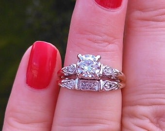 14k Gold Diamond Wedding Set