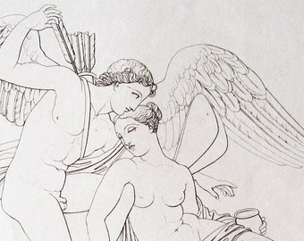 Wedding LOVE Cupid or Eros & Psyche Vintage Etching 1927 Greek/Roman Mythology