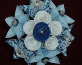 Kusudama Paper Flower Bouquet -12 stems - Blue and White