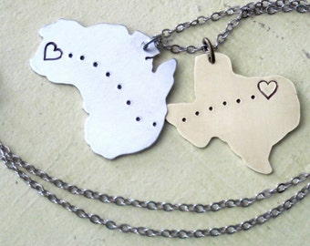 """Handmade and Hand Stamped """"Remember Me"""" Necklace - Personalized Map cut-out Necklace - Men and Women"""
