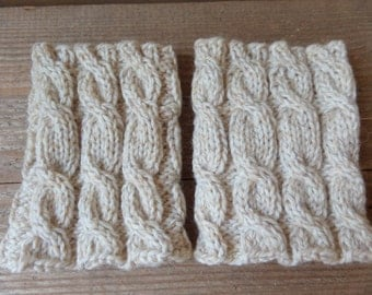 Knitted  Boot Cuffs   Beige melange cable knit Boot Cuffs  Leg Warmers  Boot Toppers   Knit Boot Socks Ready to ship