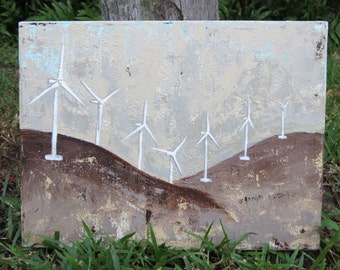 Free Energy Wind Turbines Sustainable Power Original Painting