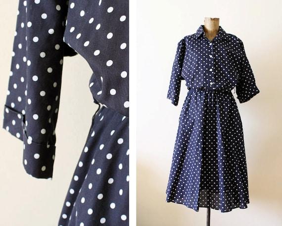 polka dot dress / button up dress / long sleeve dress M-L