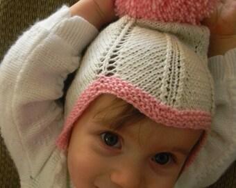 Knitting Pattern PDF,Knit Bonnet Pattern, Knit Retro Chevron Bonnet with Pompom Pattern, Knit Helmet Hat Pattern, Knit Hat Pattern