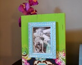 Lime Green and Turquoise Mixed Media Wood Block Picture Frame