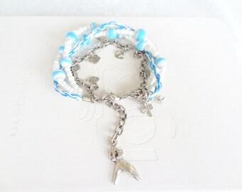 Turquoise & White boho wrap bracelet,  Glass Beads Bracelet,  gypsy bracelet, four wrap bracelet charm bracelet summer bracelet