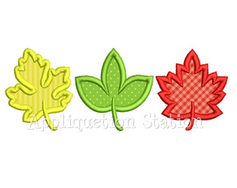 Leaf Trio Applique Machine Embroidery Design Fall thanksgiving INSTANT DOWNLOAD