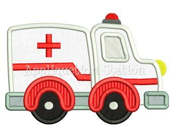 Cute Ambulance Applique Machine Embroidery Design boy emergency vehicle car INSTANT DOWNLOAD