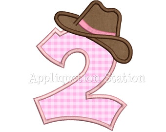 Number Two Cowboy Hat 2nd Birthday Applique Machine Embroidery Design boy second INSTANT DOWNLOAD