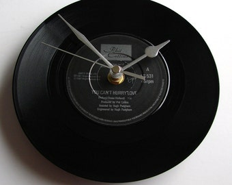 "Phil Collins Vinyl Record CLOCK 7"" single. ""You Can't Hurry Love"" 1980s pop for Wedding Anniversary, Mothers Day,  Fathers Day, any day...."