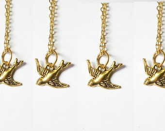 Sparrow  jewlry -Bird necklace - Bird Earrings - sterling hoops earrings- Bird  jewelry -bonus here- wedding jewelry