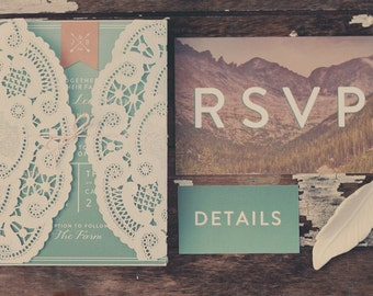 Dreamy Mountain Wedding Invitation Suite