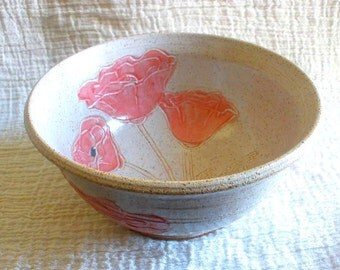 Red Poppy Stoneware Pottery Bowl