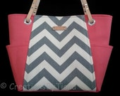 Gray and Coral Chevron - Bag - Purse - Handmade - Handbag - Shoulder Bag - leather handles -Ready to Ship -Spring Purses