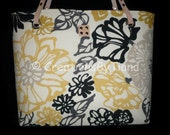 Floral Handbags - Canvas - Handmade Purses - Fabric - Small Tote Bags - Shoulder Bag - Womens handbag - Gray, Yellow, Black
