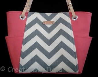 Gray and Coral Chevron - Bag - Purse - Handmade - Handbag - Shoulder Bag - leather handles -Ready to Ship -Spring Purses