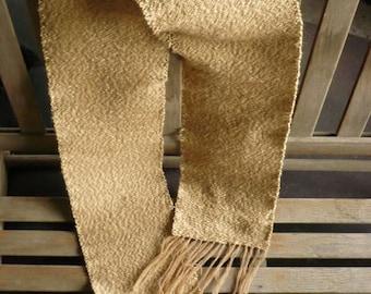 Handwoven tan wool scarf / muffller