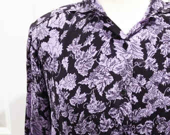 Vintage 80s silk shirt/ black with purple leaves/ leaf nature shirt/ vine leaves/ button down