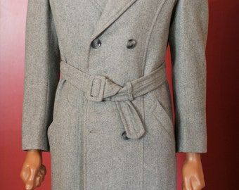 vintage grey wool mens double breasted full length coat size 40