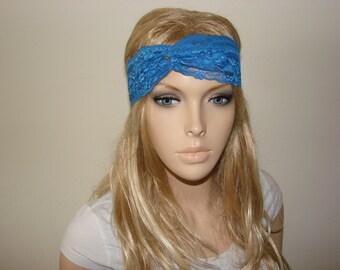 Royal Blue lace turban headband yoga headband, bandana headband Bohemian hair band fitness Headband, hippie boho headband Woman Teen Adult