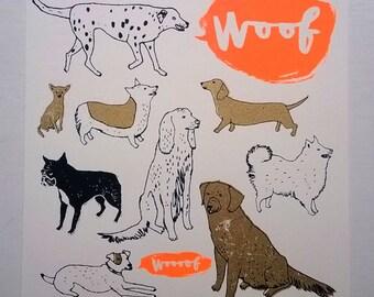 Dog Screenprint - Woof Woooof