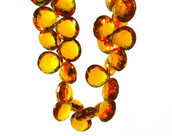 Golden Citrine Hydro Quartz Micro Faceted Briolette Beads 10mm to 11mm