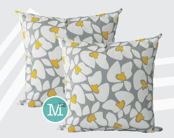 Grey & Yellow Flowers Pillow Covers Shams - 20 x 20 and More Sizes - Zipper Closure