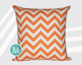Mandarin Orange Chevron Pillow Cover - 20 x 20 and More Sizes - Zipper Closure
