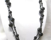Onyx parure necklace, earrings and bracelet