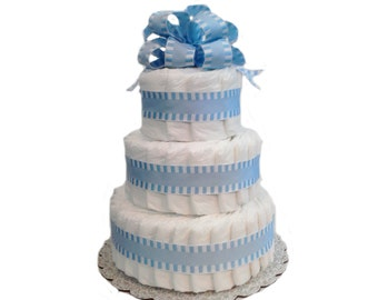 3 Layer Blue - Classic Pastel Baby Shower Diaper Cake