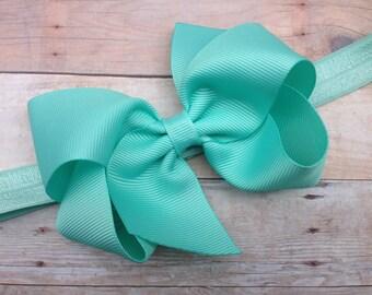 Aqua baby headband - aqua bow headband, newborn headband, boutique bow headband, baby bow headband, aqua headband, baby girl headband