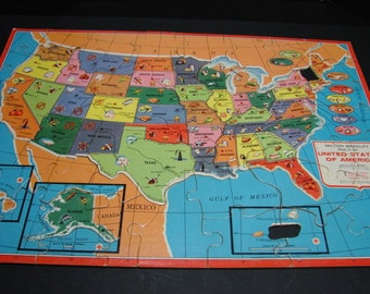 Map of The United Stated Puzzle 1962 with Map of the World on the Opposite Side