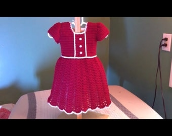 Red Holiday Baby Dress Crochet Pattern