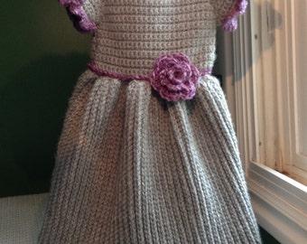 Gray Winter Baby Dress Crochet Pattern 6mo - 3T