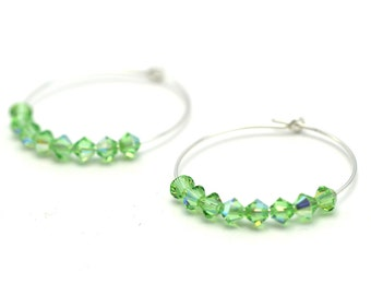 Silver Hoop Earrings with Green Crystals Sparkly Green & Silver Earrings