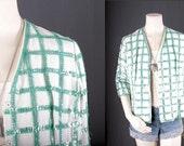 Sequin jacket white green checks Top Blouse Bohemian women size S small
