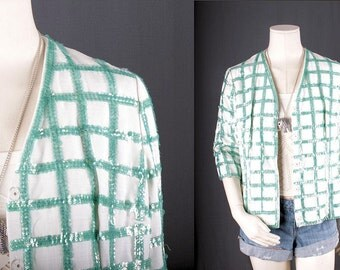 Sequin jacket white green checks Top Blouse Bohemian women size S small