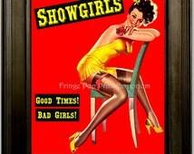 Showgirls Art Print 8 x 10 - Pin Up Girl Rockabilly Burlesque - Stripper Exotic Dancers - Pinup Retro Kitsch