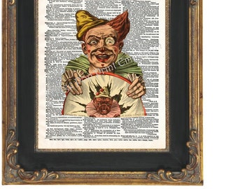 French Clown Art Print 8 x 10 Dictionary Page Victorian - Altered Art Collage
