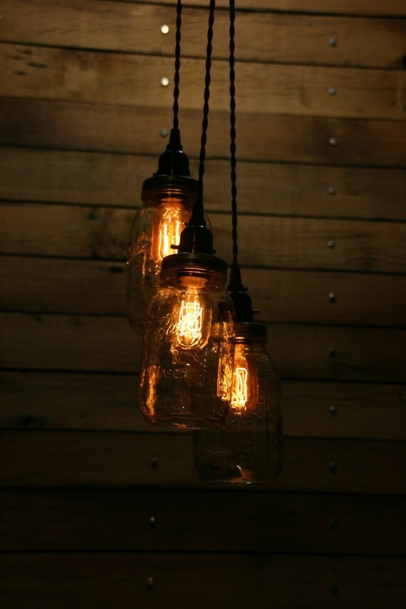 3 quart jar pendant light mason jar by industrialrewind on for Hanging lights made from mason jars