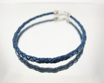 Bolo Braided Leather Bracelet Blue  #38
