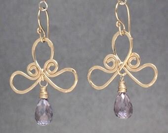 Gemstone choice bow earrings Victorian 173