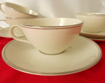 Vintage china cups, Royal Medallion 4 cups and sauces circa 1960s white with silver trim