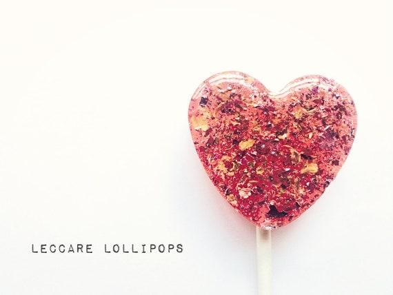 3 Rose and Honey Lollipops // Hard Candy // Unique Wedding Favors // Custom Labels // Edible Flowers