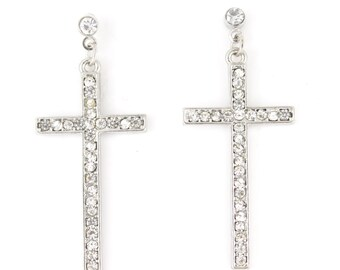 Simple Silver tone Full Crystal Cross Dangle Drop Earrings,L1