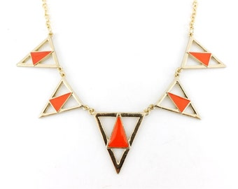 Beautiful Gold-tone Orange Triangle/Pyramid Funky Statement Necklace