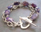"Imperial Jasper Bracelet / Purple / Silver / Bead / Oval / Double / Heart / Toggle Clasp - 7 3/4"" long - B28"