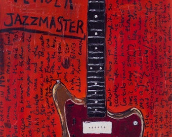 Elvis Costello Vintage Fender Jazzmaster electric guitar art print.