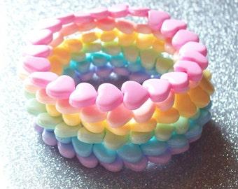 Rainbow Heart Stretch Bracelets - Set of 7
